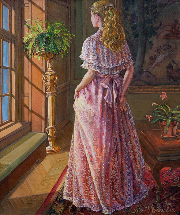 Lady Gazing Through The Window Print by Dominique Amendola