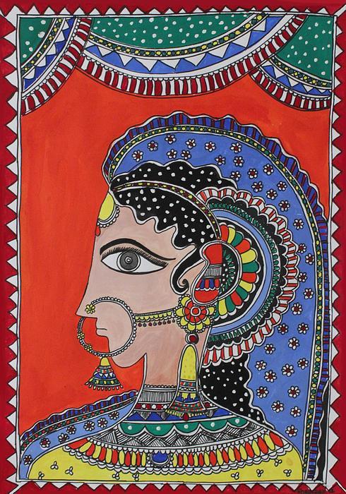 Lady In Ornaments Print by Shakhenabat Kasana