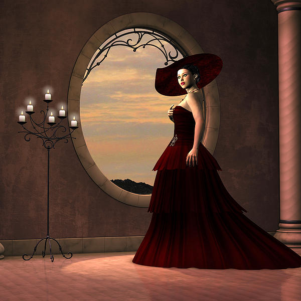 Lady In Red Dress Print by Corey Ford