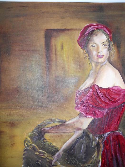 Lady In Red Print by Joyce Reid