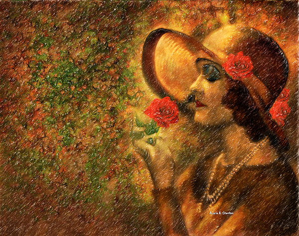 Lady In The Flower Garden Print by Angela A Stanton