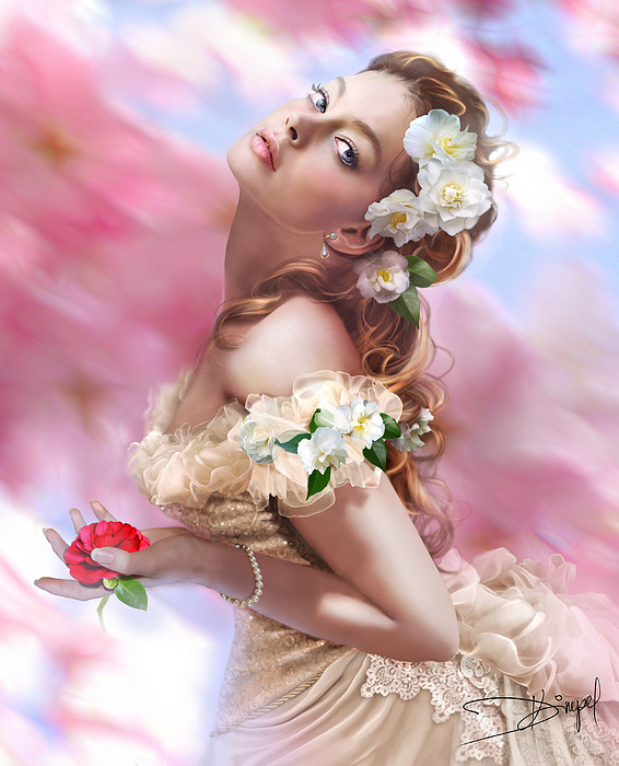 Lady Of The Camellias Print by Drazenka Kimpel