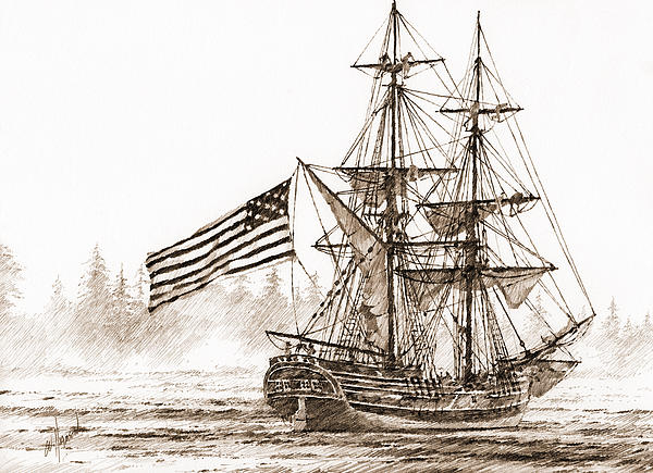 Lady Washington At Friendly Cove Sepia Print by James Williamson