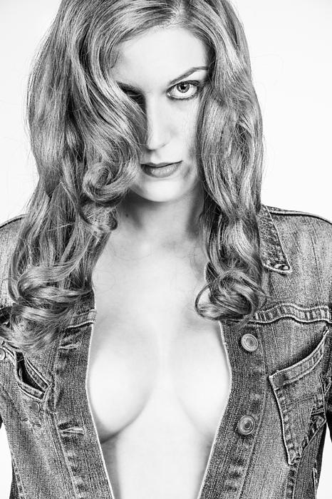 Lady With A Jeans Jacket Print by Ralf Kaiser