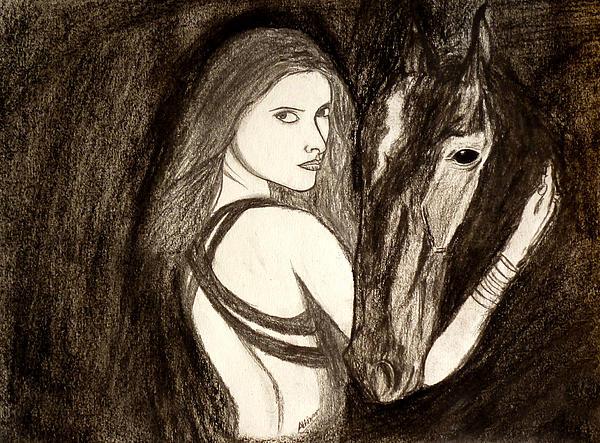Lady With Horse Print by Abhinav Krishna Dwivedi