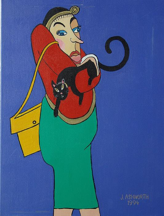 Lady With Independent Cat Print by Janet Ashworth