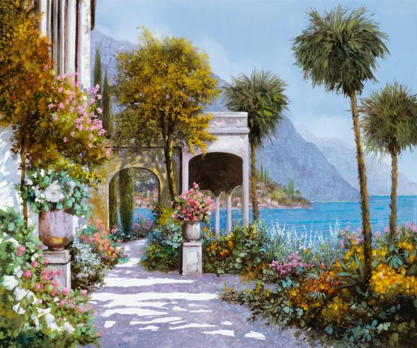 Lake Como-la Passeggiata Al Lago Print by Guido Borelli