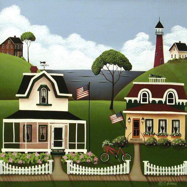 Lake Cottages Print by Catherine Holman