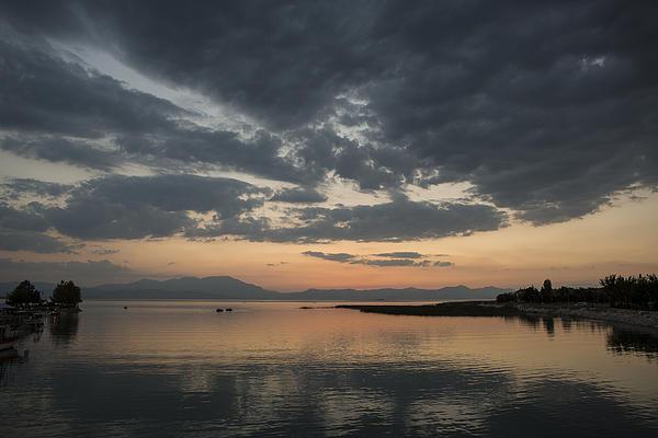 Lake In Sunset Print by Yavuz Sariyildiz