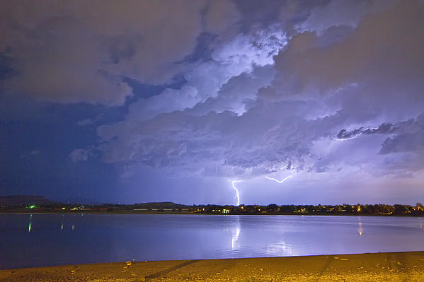 Lake View Lightning Thunderstorm Print by James BO  Insogna