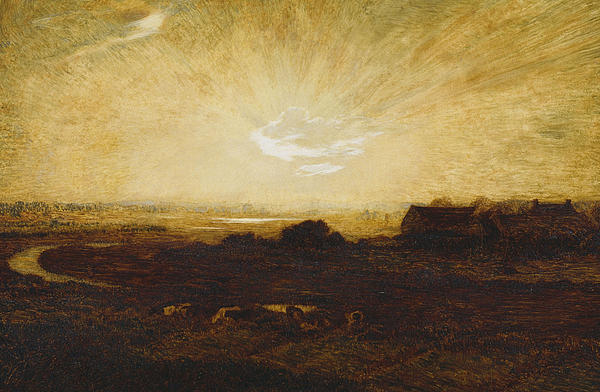 Landscape At Sunset Print by Marie Auguste Emile Rene Menard