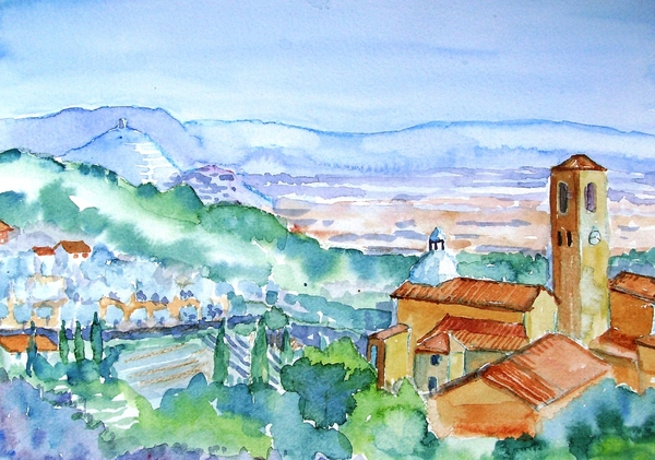 Landscape In Tuscany With Medieval Village  Print by Trudi Doyle