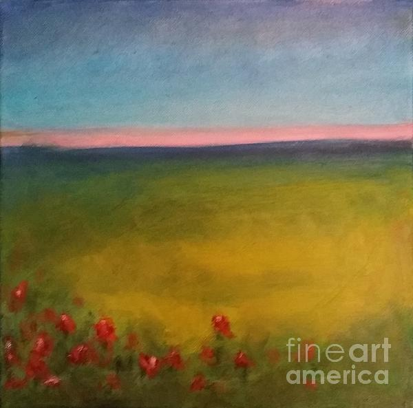 Landscape In Violet With Red Flowers Print by Piotr Wolodkowicz