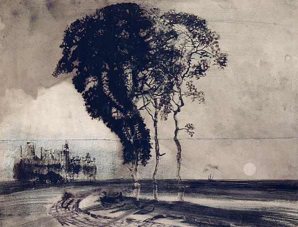 Landscape With Three Trees Print by Victor Hugo