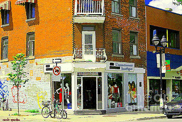 L'appartement Boutique Fashions Trendy Chic Clothing Store Ave Du Mont Royal City Scene Print by Carole Spandau