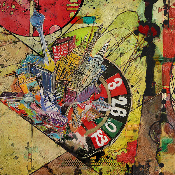 Las Vegas Collage Print by Corporate Art Task Force