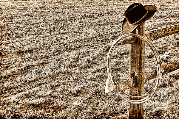 Lasso And Hat On Fence Post Print by Olivier Le Queinec
