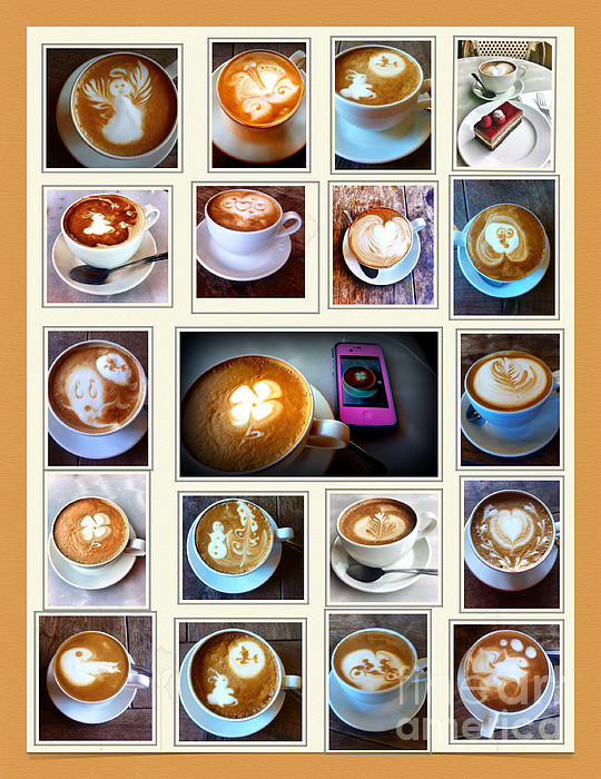 Latte Art Collage Print by Susan Garren