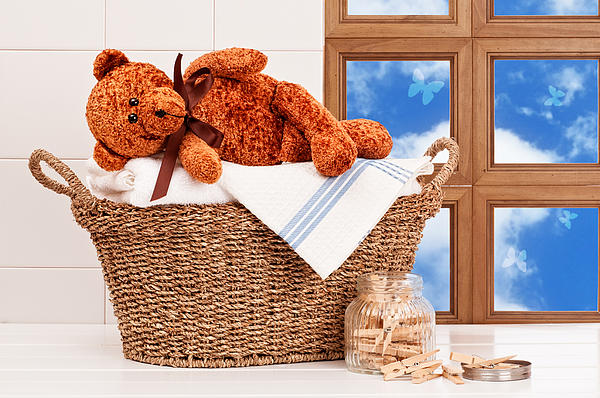 Laundry With Teddy Print by Amanda And Christopher Elwell