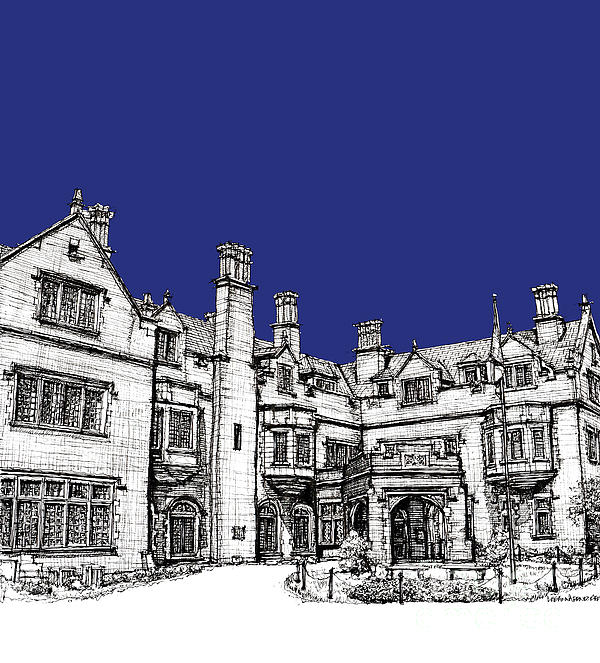 Laurel Hall In Royal Blue Print by Lee-Ann Adendorff