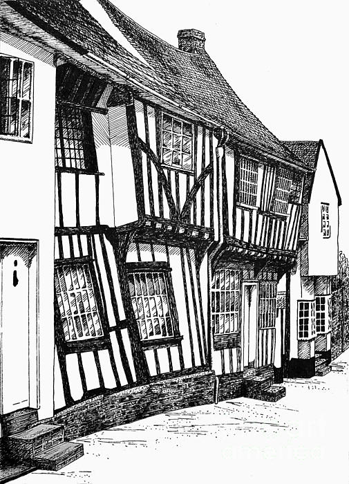 Lavenham Timber Print by Shirley Miller