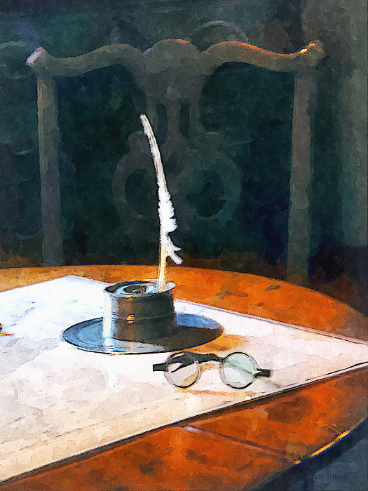 Lawyer - Quill And Spectacles Print by Susan Savad