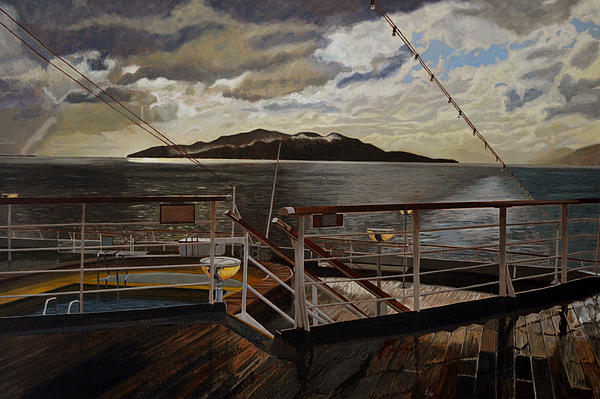 Leaving Queen Charlotte Sound Print by Thu Nguyen