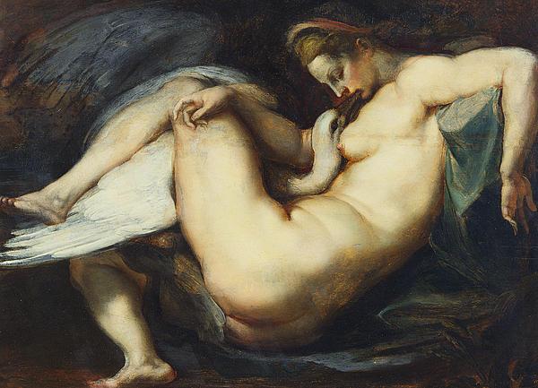 Leda And The Swan Print by Rubens