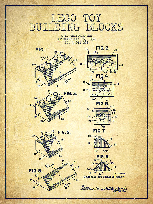 Lego Toy Building Blocks Patent - Vintage Print by Aged Pixel