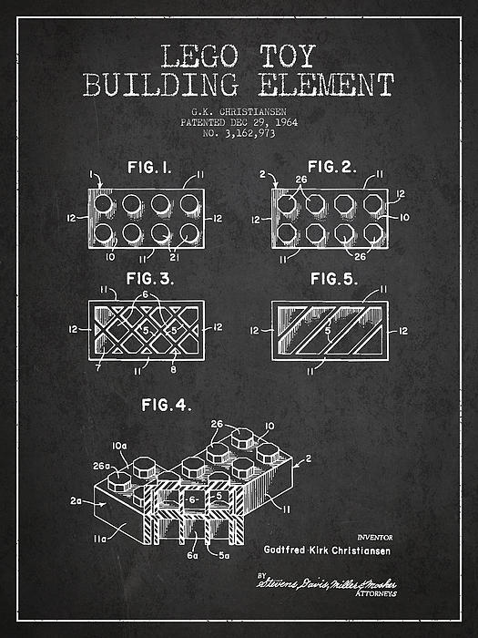 Lego Toy Building Element Patent - Dark Print by Aged Pixel