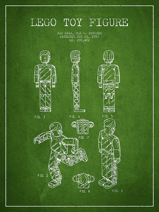 Lego Toy Figure Patent - Green Print by Aged Pixel