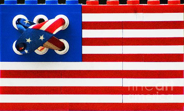 Legos American Flag Print by Anahi DeCanio