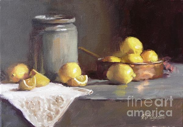 Lemons In Copper Pan  Print by Viktoria K Majestic