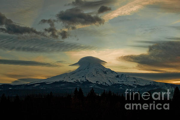 Lenticular Sunset On Mount Hood Print by Cari Gesch