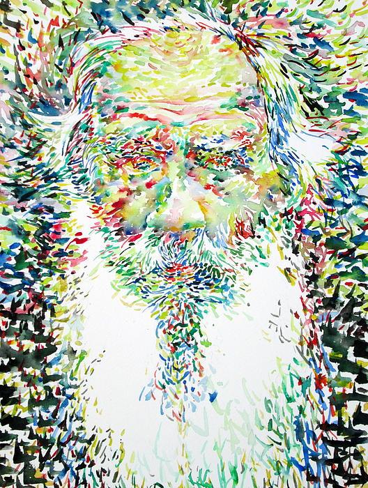 Leo Tolstoy Watercolor Portrait.1 Print by Fabrizio Cassetta