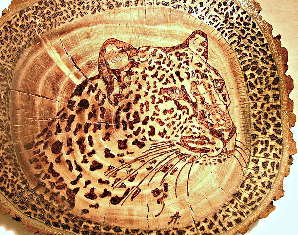 Leopard Print by Art  Pyrography