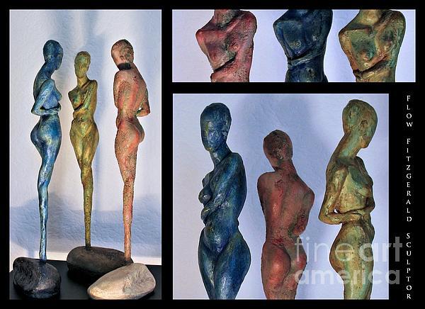 Les Filles De L'asse 1 Triptic Collage Print by Flow Fitzgerald