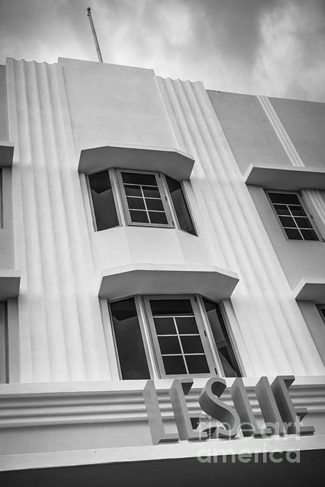 Leslie Hotel South Beach Miami Art Deco Detail 2 - Black And White Print by Ian Monk