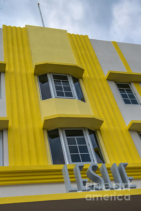 Leslie Hotel South Beach Miami Art Deco Detail 2 Print by Ian Monk