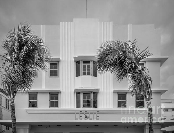 Leslie Hotel South Beach Miami Art Deco Detail 3 - Black And White Print by Ian Monk