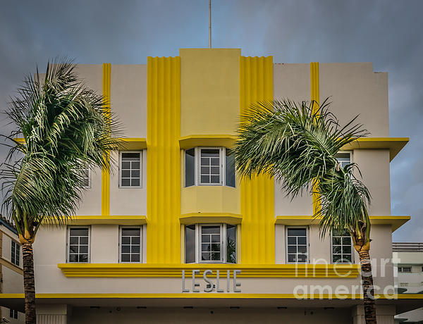 Leslie Hotel South Beach Miami Art Deco Detail 3 - Hdr Style Print by Ian Monk
