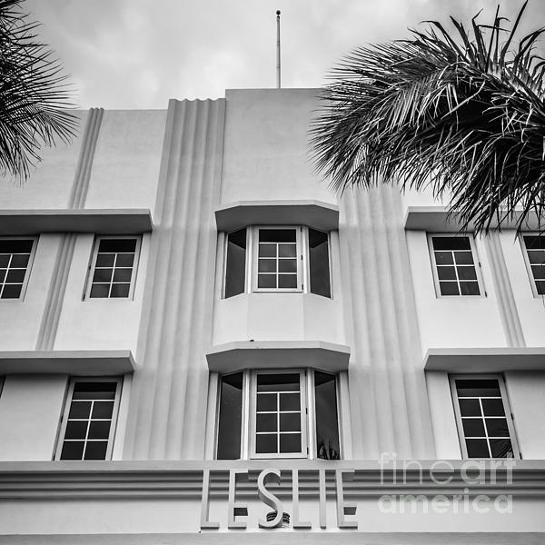 Leslie Hotel South Beach Miami Art Deco Detail - Square - Black And White Print by Ian Monk