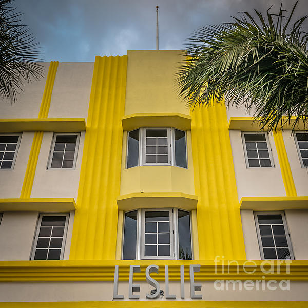 Leslie Hotel South Beach Miami Art Deco Detail - Square - Hdr St Print by Ian Monk