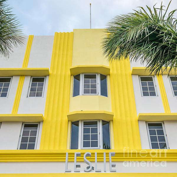 Leslie Hotel South Beach Miami Art Deco Detail - Square Print by Ian Monk