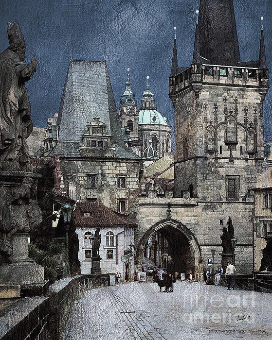 Lesser Town Bridge Towers Print by Pedro L Gili