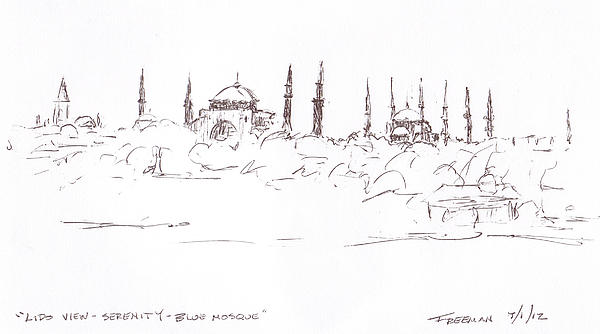 Lido View Serenity Blue Mosque Print by Valerie Freeman