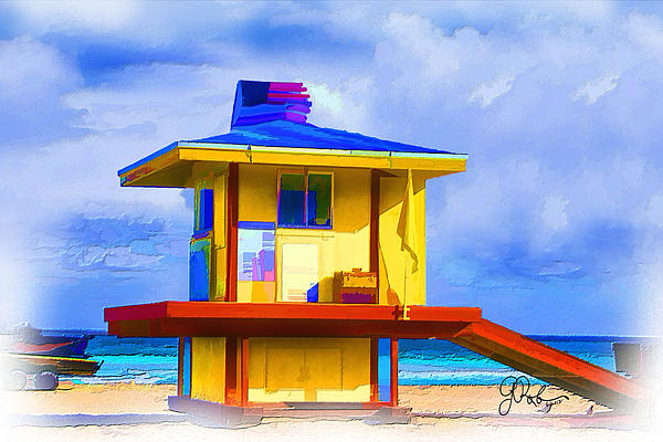 Lifeguard Station Print by Gerry Robins