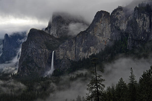 Lifting Fog And Clouds At Bridalveil Fall Print by Steven Barrows