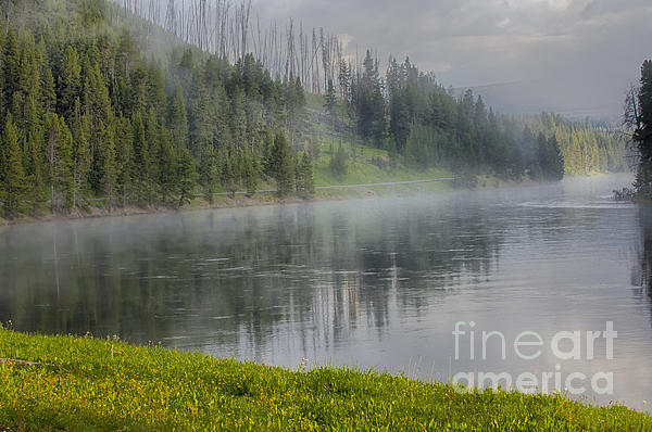 Lifting Fog On The Yellowstone River Print by Sandra Bronstein