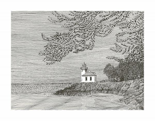 Light House On San Juan Island Lime Point Lighthouse Print by Jack Pumphrey